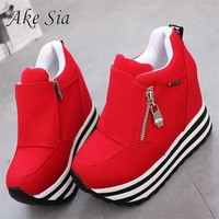 Ake Sia Autumn new Korean stealth within the increase women's shoes side zipper canvas shoes sneaker  leisure high shoes F267