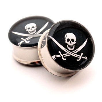 Jolly Roger Picture Plugs gauges - 16g, 14g, 12g, 10g, 8g, 6g, 4g, 2g, 0g, 00g, 7/16, 1/2, 9/16, 5/8, 3/4, 7/8, 1 inch