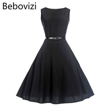 Bebovizi Summer Solid Color Black Red Green Audrey Hepburn 50s Vintage Dress for Women Evening Party Midi Dresses Clothing