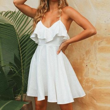 Ruffled v-neck women sun dresses  A-line strap cotton short dress High waist backless ladies dresses vestidos