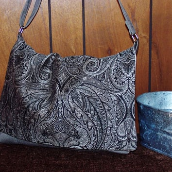 Black Grey Wine w/ Paisley & Tweed Messenger / Cross Body / Purse / Handbag / Satchel / Shoulder Bag / Tote / Diaper Bag / Over Night Bag