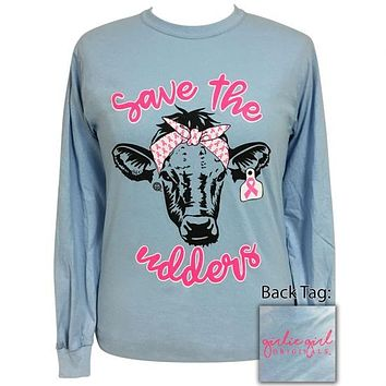 Girlie Girl Originals Preppy Save The Udders Bandana Cow Long Sleeve T-Shirt