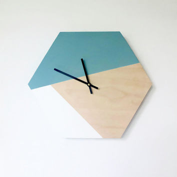 SALE Hexagon Wall Clock, Trending Hexagon Decor,  Home Decor, Home and Living, Wall Clock