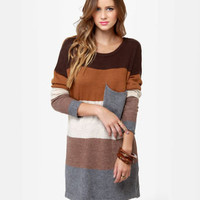 Cozy Oversized Sweater Dress - Color Block Sweater Dress - Brown Sweater