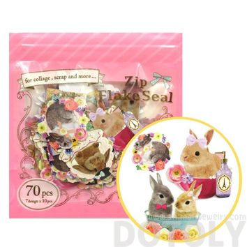 Realistic Bunny Rabbits Shaped Photo Sticker Flake Seals From Japan | 70 Pieces