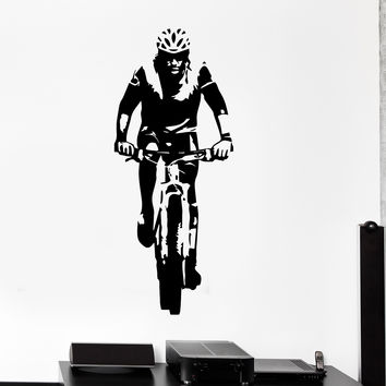 Vinyl Wall Decal Cyclist Sport Bike Bicycle Stickers Mural Unique Gift (ig4419)