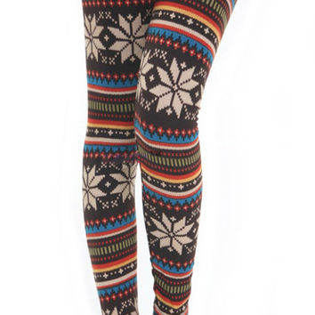 Knit Brown Snowflake Leggings Design 38
