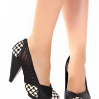 Black Houndstooth Pump Heels Faux Leather