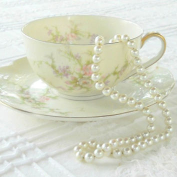 Haviland Limoges Rosalinde Tea Cup and Saucer Set, American Limoges, French Country Cottage, Wedding, French Shabby Chic