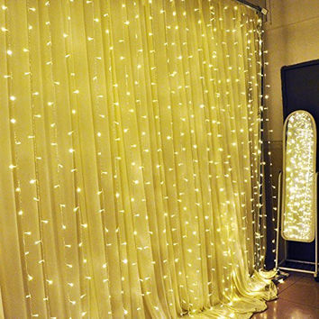 Ucharge Curtain Lights 304led 9.8ft*9.8ft Warm Lights Christmas Curtain  String Fairy Wedding Led Lights for Home, Kitchen, Bedroom, Wedding,  Party, Outdoor Wall, Curtain, Window Decorations