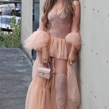 Wild Thing Peach Sheer Mesh Long Sleeve Ruffle Crew Neck High Slit Maxi Dress