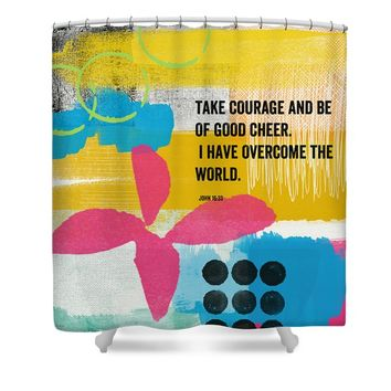 Be of Good Cheer- Contemporary Christian Art by Linda Woods Shower Curtain