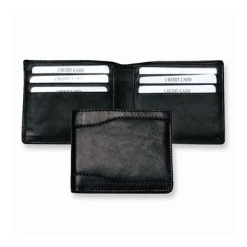 Black Leather Slim Fold Wallet - Engravable Personalized Gift Item