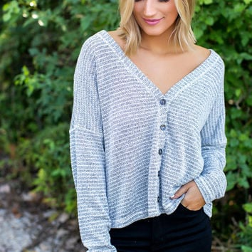 Grey Striped Knit Button Top
