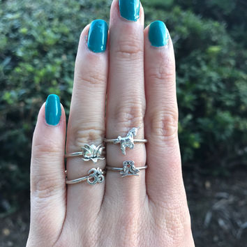 Sterling Silver Charm Rings - Ready to Ship