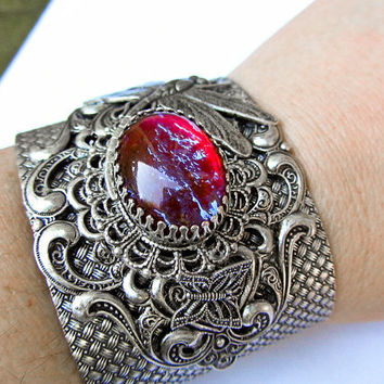 Dragon's Breath Opal Cuff Bracelet Mexican Opal Statement Bracelet Cuff Oxidized Silver Statement Jewelry Dragonfly bracelet