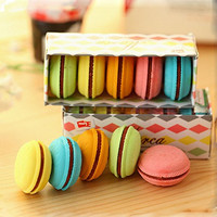 YIXIN Set of 5 Plastic Eraser Multi-colors Macarons Dorayaki Cookie Rubber for Pupils Kids School Office Stationary Kits