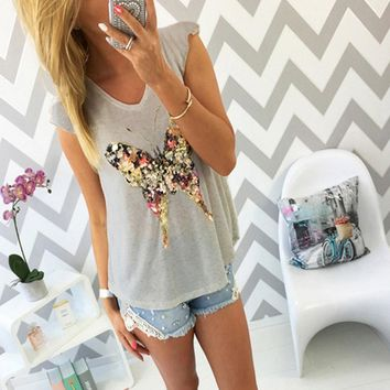 Women's Casual Butterfly V Neck Short Sleeve Tee