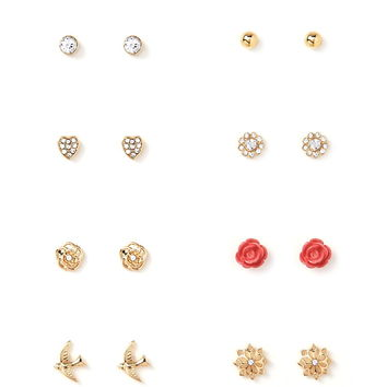 Mixed Floral Stud Set | Forever 21 - 1000168042