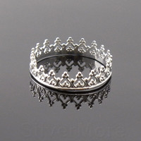 Argentium Silver Crown ring, Princess, Queen, stacking ring
