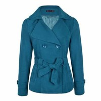 DOUBLE BREATSED SHAWL COLLAR COAT - Ally Fashion