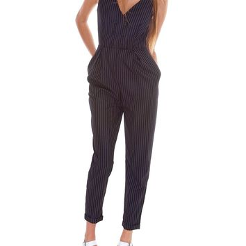 Who's The Boss Pinstripe Jumpsuit - Navy/White