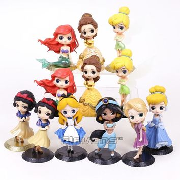 Cartoon Q Posket Snow White Princess Alice Mermaid figure Alice in Wonderland Ariel Cinderella Belle Tangled Rapunzel Doll Toys