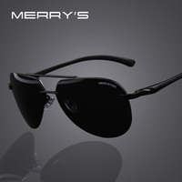 MERRY'S Brand Men 100% Polarized Aluminum Alloy Frame Sunglasses Fashion Men's Driving Sunglasses High quality 7 Color