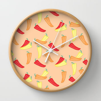 Hot Chili Pepper Pattern on Peach Wall Clock by CandyBoxDigital