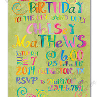 Bright and Colorful with a Green Watercolor Background Design Printable Birthday Invitation