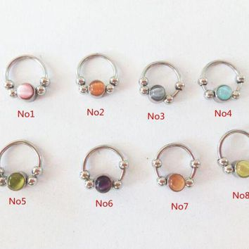 ac DCCKO2Q free shipping 8pcs mixed 16gauge cat eye stone BCR stone septum ring nose ring helix daith tragus cartilage earring piercing