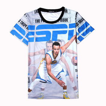 Steph Curry Jersey 3d T Shirt James Kyrie Irving Boys Superhero T Shirts Allen Iverson Printed Throwback Tee Shirt Homme XXL New