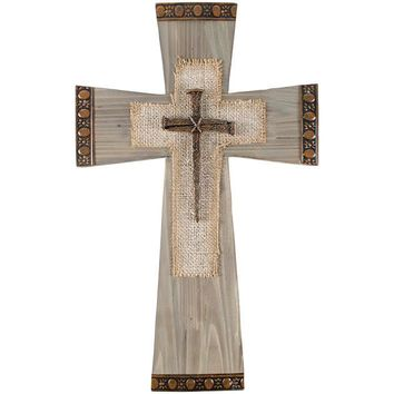 Cross - Nail and Burlap Decorative Cross