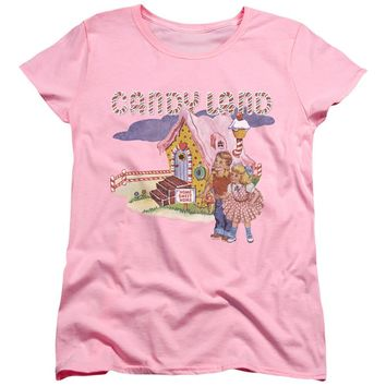 Candy Land Womens T-Shirt Cotton Candy Land Pink Tee