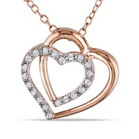 Rose Gold-Plated Sterling Silver .10 cttw Diamond 18-Inch Chain Double-Heart Pendant Necklace