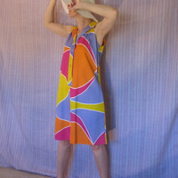 Vtg 60s Mini Dress  MOD Color Block ALine Sheath by ChatteJolie