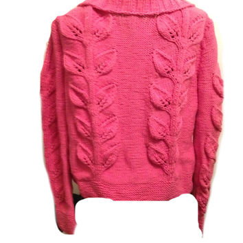 Cardigan Sweater Handmade Hot Pink Cotton Lace Leaves Ribbed Collar Spring Summer  Ready to ship