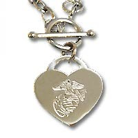 Engravable Heart Necklace with Marine Corps EGA