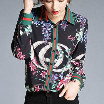 Autumn Fashion New Stripe More Floral Print Long Sleeve Top Shirt