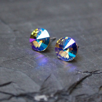 Blue Earrings, Aurora Borealis, crystal earrings, Glacier blue, Rainbow, Swarovski Crystal Posts, Sparkle, Round, Stud Post, Yellow