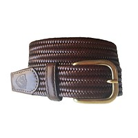 The Back Nine Woven Leather Belt in Whiskey by Bucks Club