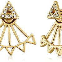 Rebecca Minkoff Two Part Gold Triangle Stud Earrings