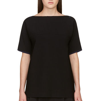 Rag And Bone Black Oversized Short Sleeve Roxy Top
