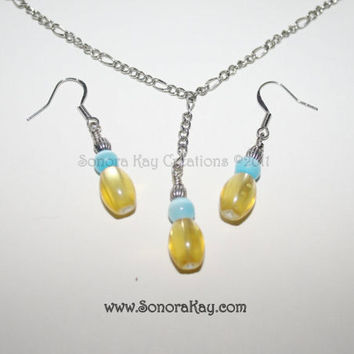 Yellow Cats Eye Glass Necklace Set