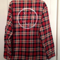 Unisex Plaid flannel quilted flannel jacket grunge hand painted with a smiley