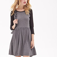 FOREVER 21 Baseball T-Shirt Dress Heather Grey/Black