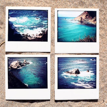 Polaroid Coasters California Pacific Coast  - Set of 4 Ceramic Drink Coasters
