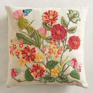 Beaded Desert Floral Pillow