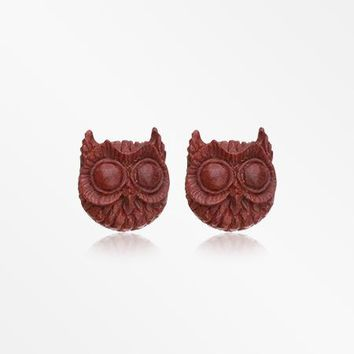 A Pair of Twighlight Owl Handcarved Wood Earring Stud