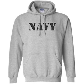 UNITED STATES NAVY: TRADITIONAL BLOCK LETTERS :: G185 Gildan Pullover Hoodie 8 oz.